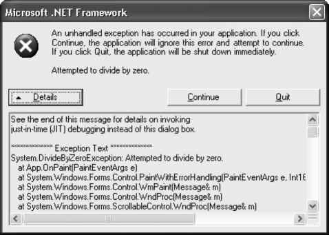 Unhandled Exceptions and Windows Forms - Framework Programming